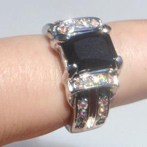 Black Sapphire 18K Gold Fill Size 9 Ring Halo GF